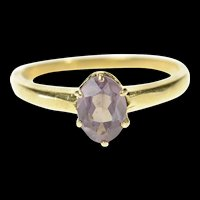 10K Retro Oval Syn. Amethyst Solitaire Simple Ring Size 6 Yellow Gold [CQXS]