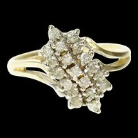 10K Classic Diagonal Diamond Cluster Bypass Ring Size 6.75 Yellow Gold [CQXT]