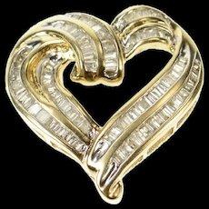 10K Wavy Baguette Diamond Channel Curvy Heart Pendant Yellow Gold [CQXQ]
