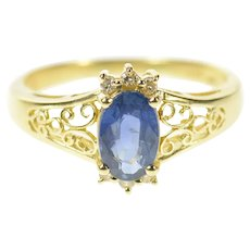 14K 1.07 Ctw Natural Sapphire Diamond Filigree Ring Size 8.5 Yellow Gold [CQXT]