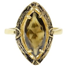 14K Marquise Smoky Quartz Ornate Cocktail Ring Size 7.25 Yellow Gold [CQXT]