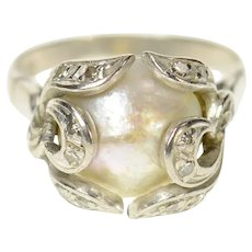 18K 1940's Pearl Diamond Ornate Scroll Statement Ring Size 5.5 White Gold [CQXT]