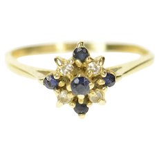 14K Classic Squared Sapphire Diamond Cluster Ring Size 6.5 Yellow Gold [CQXT]