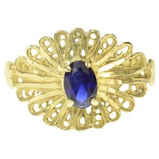 14K Ornate Scalloped Oval Sapphire Statement Ring Size 7.25 Yellow Gold [CQXT]