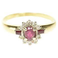 14K Oval Ruby Diamond Semi Halo Engagement Ring Size 7.5 Yellow Gold [CQXT]