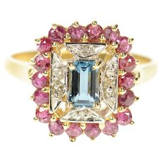 10K Emerald Cut Blue Topaz Diamond Ruby Halo Ring Size 7.75 Yellow Gold [CQXT]