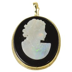 14K Black Onyx Carved Opal Lady Cameo Pendant Yellow Gold [CQXQ]