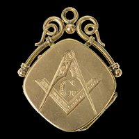 14K Masonic Symbol Photo Picture Locket Pendant Yellow Gold [CQXQ]