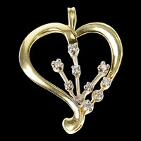14K Two Tone Diamond Heart Love Symbol Pendant Yellow Gold [CQXQ]