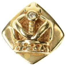 14K Diamond Crown King Queen Slide Bracelet Charm/Pendant Yellow Gold [CQXQ]