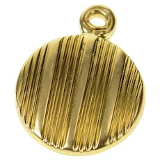18K Pinstriped Round Photo Picture Locket Charm/Pendant Yellow Gold [CQXQ]
