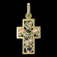 18K Sapphire Ruby Encrusted Cross Christian Pendant Yellow Gold [CQXQ]