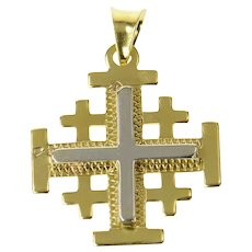 18K Two Tone Jerusalem Cross Heraldic Symbol Pendant Yellow Gold [CQXT]