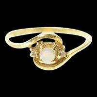 14K Natural Opal Diamond Accent Bypass Ring Size 6.75 Yellow Gold [CQXT]