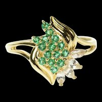14K Retro Classic Syn. Emerald CZ Cluster Statement Ring Size 10 Yellow Gold [CQXT]