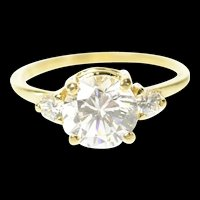 14K Three Stone Classic Travel Engagement Ring Size 6.75 Yellow Gold [CQXT]