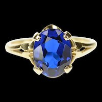 10K 1940's Classic Syn. Sapphire Ornate Statement Ring Size 6.5 Yellow Gold [CQXT]