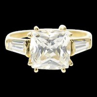 14K Princess Baguette Travel Engagement Ring Size 9.75 Yellow Gold [CQXT]