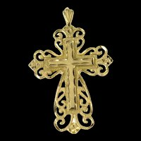 14K Ornate Scroll Cross Christian Faith Filigree Pendant Yellow Gold [CQXC]