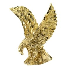 14K Soaring Eagle Patriotic Bird Freedom Symbol Pendant Yellow Gold [CQXC]