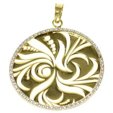 14K Diamond Round Swirl Abstract Cut Out Circle Pendant Yellow Gold [CQXC]
