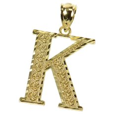 10K K Monogram Pinwheel Pattern Name Initial Pendant Yellow Gold [CQXC]