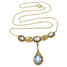 "14K Victorian Ornate Floral Blue Topaz Lavalier Necklace 18"" Yellow Gold [CQXC]"