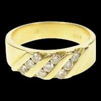 14K Classic Diamond Striped Statement Band Ring Size 8.25 Yellow Gold [CQXT]