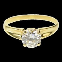 14K Classic Solitaire Round Travel Engagement Ring Size 6.75 Yellow Gold [CQXC]