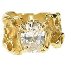 14K Retro Brutalist Solitaire Travel Engagement Ring Size 5 Yellow Gold [CQXT]