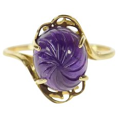 10K Swirl Carved Amethyst Statement Bypass Ring Size 10 Yellow Gold [CQXT]