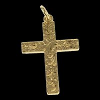 10K Art Deco Ornate Etched Cross Christian Charm/Pendant Yellow Gold [CQXC]