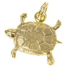 10K Textured Sea Turtle Ocean Animal Charm/Pendant Yellow Gold [CQXC]