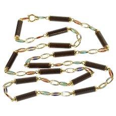 "14K 6.0mm Retro Wood Enamel Link Opera Chain Necklace 33"" Yellow Gold [CQXK]"
