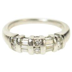 Platinum Baguette Round Diamond Wedding Band Ring Size 5.25  [CQXK]