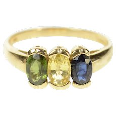 10K 1.48 Ctw Yellow Blue & Green Sapphire Ring Size 8.25 Yellow Gold [CQXK]