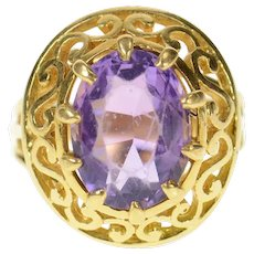 18K Ornate Scroll Halo Amethyst Cocktail Ring Size 5.25 Yellow Gold [CQXF]