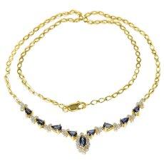 "18K Marquise Sapphire Diamond Chevron Statement Necklace 16.25"" Yellow Gold [CQXF]"