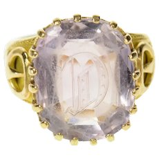 18K Art Deco D C Monogram Amethyst Statement Ring Size 6.25 Yellow Gold [CQXF]