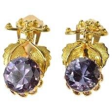 14K Victorian Sim. Alexandrite Ornate Clip Dangle Earrings Yellow Gold [CQXK]