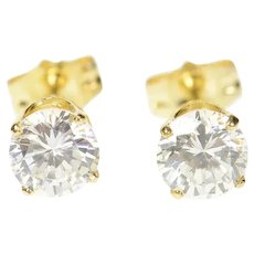 14K Classic Round Solitaire Simple Stud CZ Earrings Yellow Gold [CQXK]