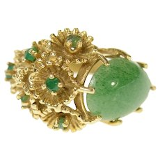 14K 1960's Pear Jade Emerald Cluster Cocktail Ring Size 6.5 Yellow Gold [CQXF]
