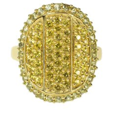 14K Oval Pave Citrine Prasiolite Halo Statement Ring Size 9.25 Yellow Gold [CQXF]