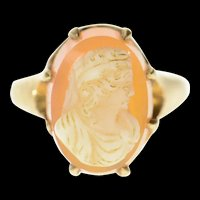 10K Carved Carnelian Agate Cameo Statement Ring Size 4.5 Yellow Gold [CQXK]