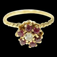 14K Diamond Ruby Halo Retro Flower Cluster Ring Size 5.5 Yellow Gold [CQXK]