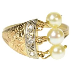 14K Victorian Pearl Fringe Diamond Etched Ring Size 6.5 Yellow Gold [CQXF]