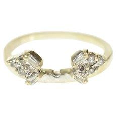 14K Baguette Diamond Cluster Wrap Wedding Band Ring Size 5.25 White Gold [CQXF]