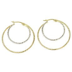 14K Two Tone Textured Statement Hoop Earrings Yellow Gold [CQXK]