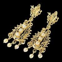 14K Ornate Pearl Dangle Black Enamel Statement Earrings Yellow Gold [CQXK]