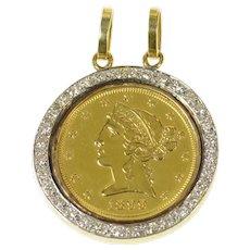 18K 1899 Liberty Head Half Eagle $5 Coin Diamond Pendant Yellow Gold [CQXF]